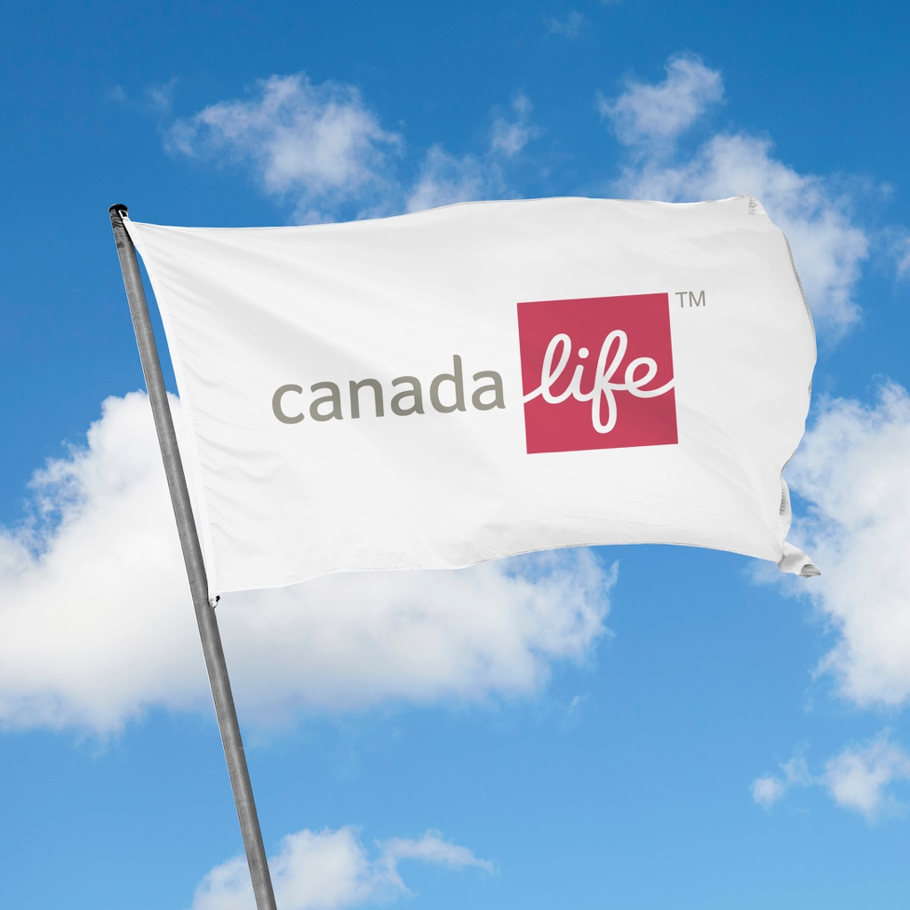 A flag with the Canada Life logo on it.