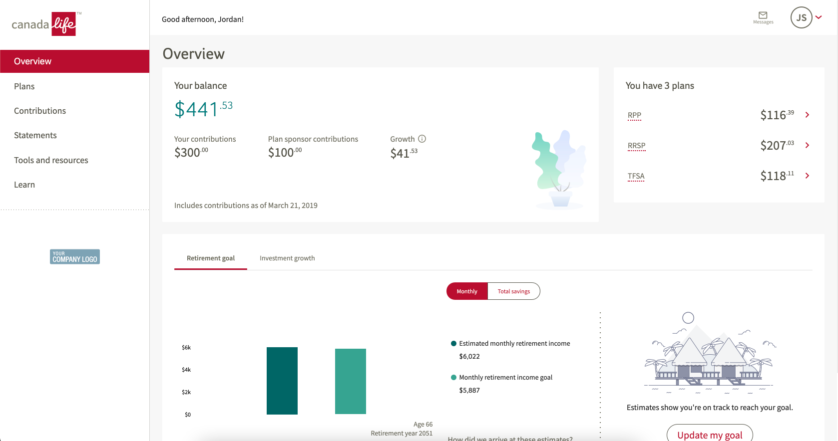 GRS Access shows the savings you have through your work. The main page is an overview displaying your balance, your plans, investment growth and info about setting a retirement goal.